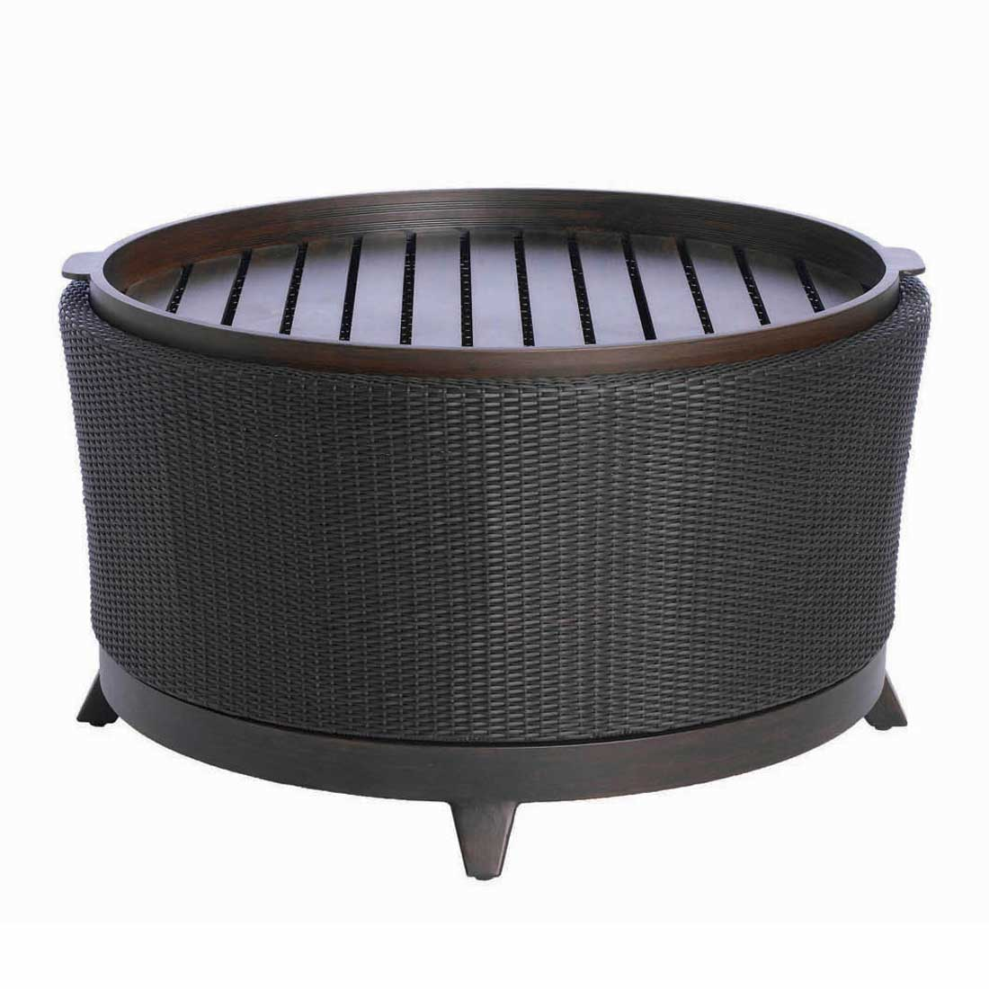 Round Wicker Coffee Table With Storage: Halo Outdoor Round Coffee Table