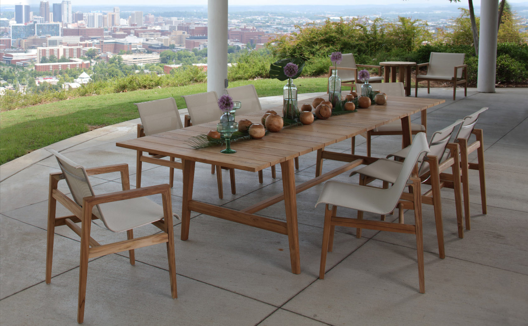 modern outdoor furniture made with Batyline Sling, teak, stainless steel