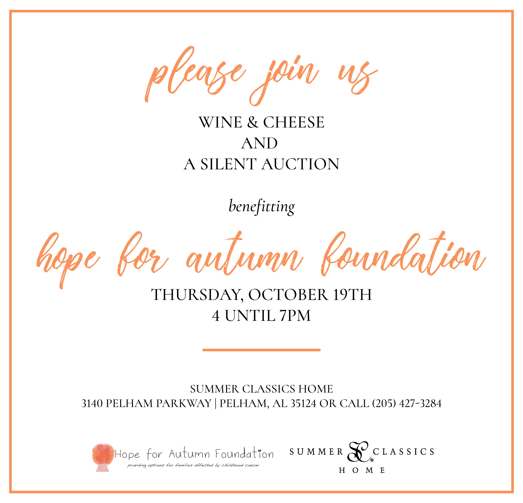 Wine & Cheese to Benefit Hope for Autumn - Summer Classics