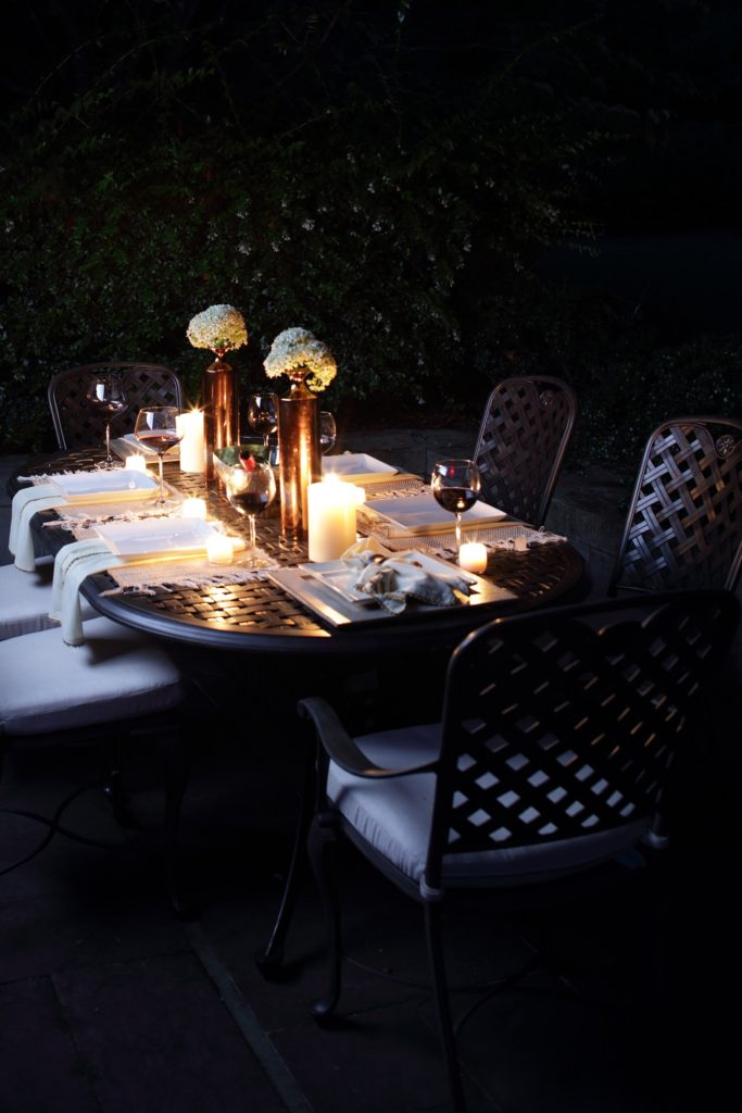 Outdoor Tablescape for night entertaining