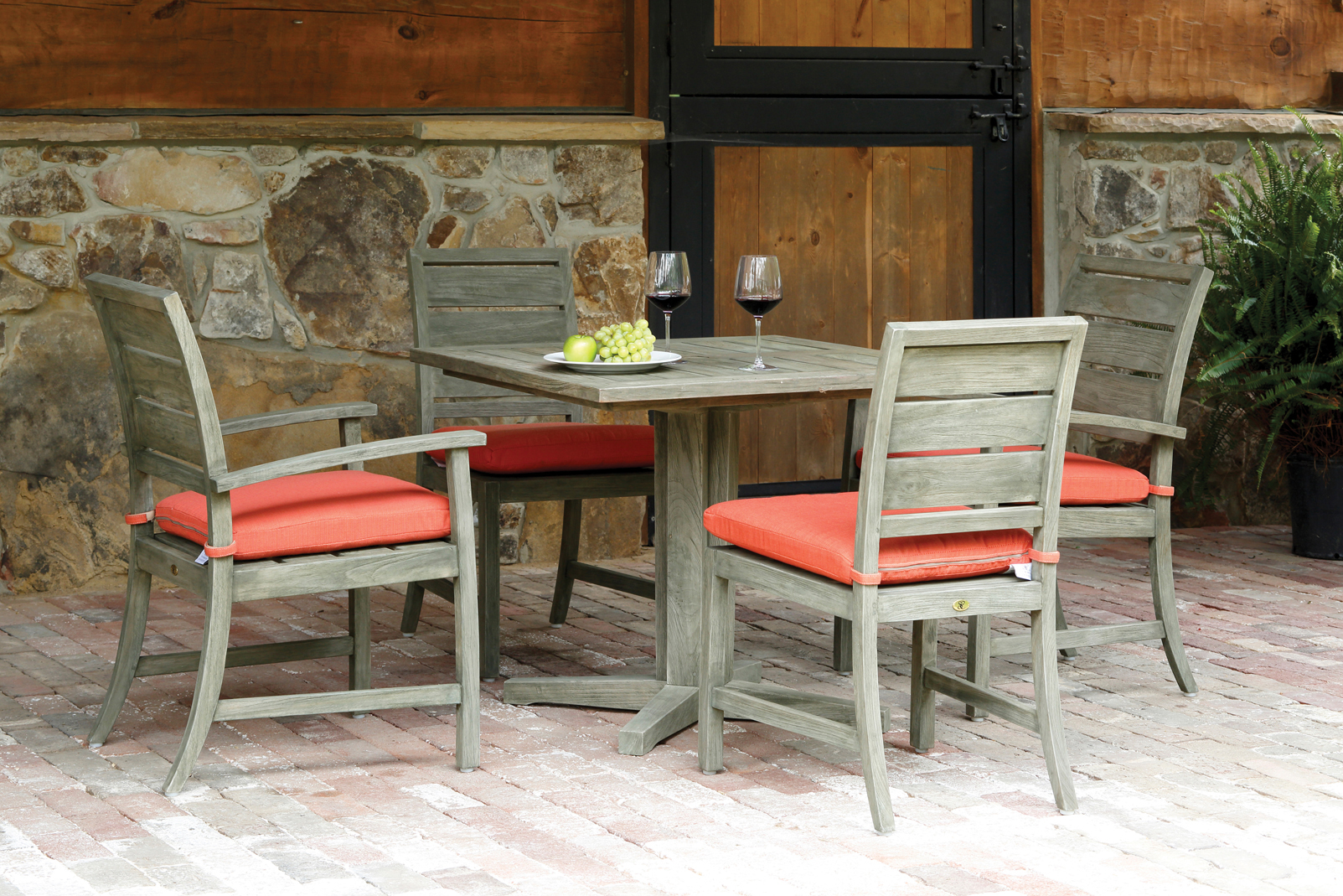 Charleston Teak Dining Chairs with 22 Echo Sangria outdoor fabric