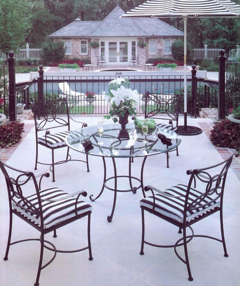 Wrought iron outdoor chairs - Brookings Wrought Iron Patio Tables And Chairs Introduced In Summer Classics 1997 Catalog