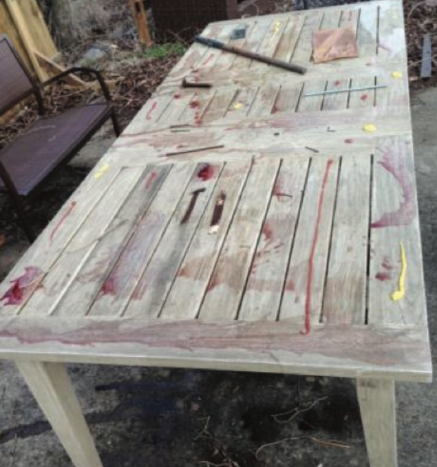 This weathered extension teak table has been exposed to outdoor weather for 4 months and has been stained with coffee, coke, red wine, grape juice, ketchup, mustard and olive oil.