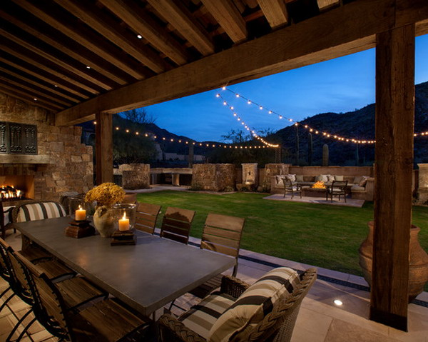 Bon Backyard Patio With Nice String Lights