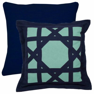 Navy And Teal With Linen Navy Backing And Single Flange