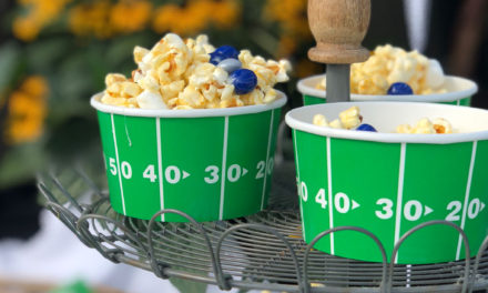 """""""Bring on the themed color and themed finger food! I purchase football themed napkins, plates and cups and try to match the party color to the team of choice."""" –– SP"""