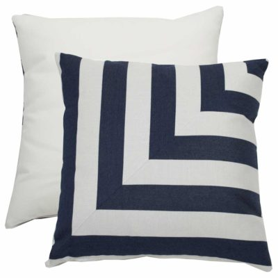 Indigo L-Stripe With Linen Snow Backing And Knife Edge