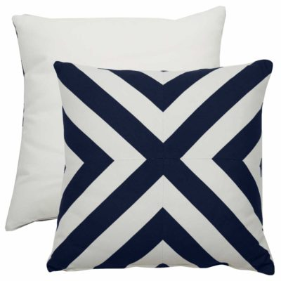 Indigo X-Stripe With Linen Snow Backing And Knife Edge
