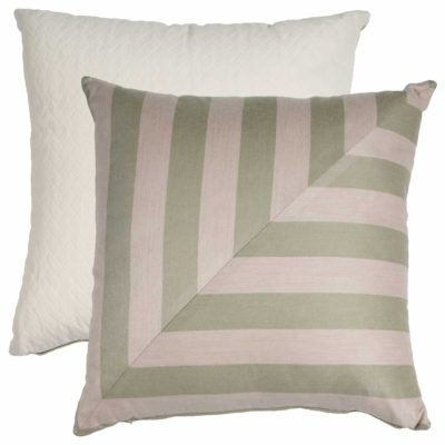 Sage And Pebble L-Stripe With Tufted Canvas Backing And Knife Edge
