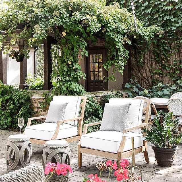 Summer Classics Haley Teak Lounge Chairs styled by Park & Oak